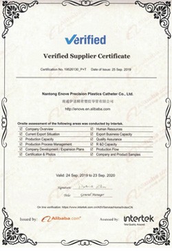 Enove Verified Supplier Certificate B